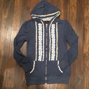 Modcloth blue hoodie with lace details, women's M